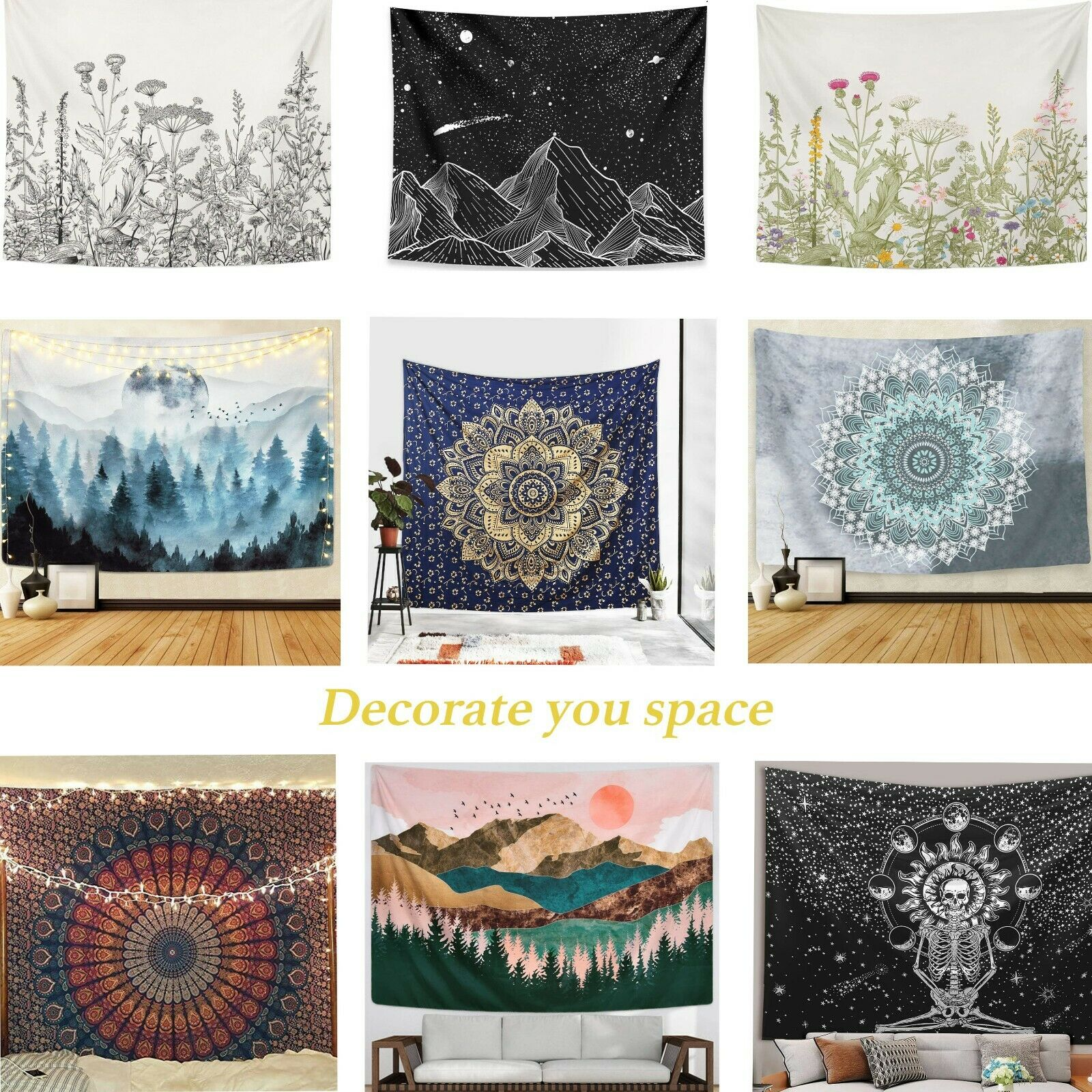 Hippie Mandala Flower Tapestry Decorative Wall Hanging Tapestry Room Bedspread