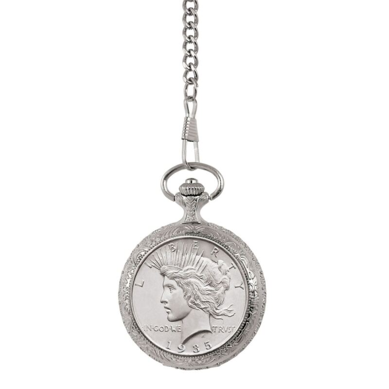NEW American Coin Treasures Uncirculated Peace Silver Dollar Coin Pocket Watch