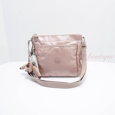 NWT Kipling K16614 Moyelle Crossbody Small Bag Polyamide Rose Gold Metallic $89