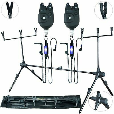 DELTA FISHING Rod Pod 4 Bein Auflagen 2 Bissanzeiger 2 LED Hänger Kette Blau Kva