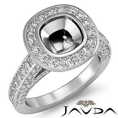 Diamond Engagement Ring Cushion Semi Mount Bezel Set VS1-VS2 14k W Gold 1.7Ct
