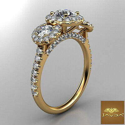 Halo 3 Stone Micro Pave Round Diamond  Engagement Ring GIA D VS2 Clarity 1.50Ct 6