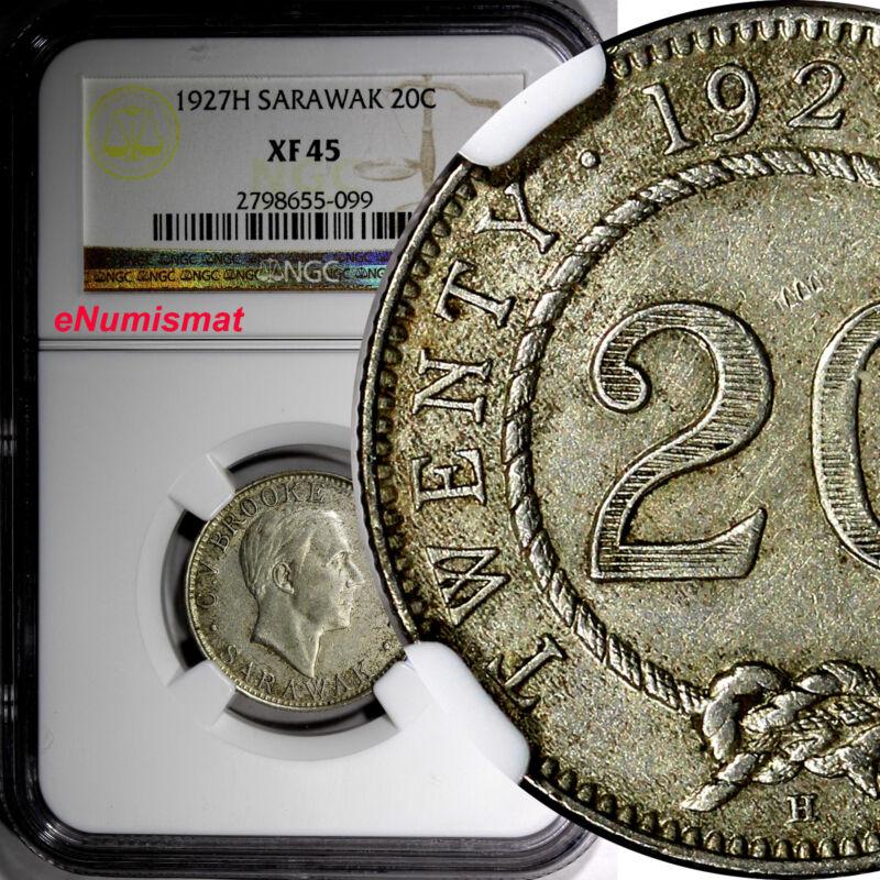 Sarawak Silver Charles V. Brooke 1927 H 20 Cents NGC XF45 1 YEAR SCARCE KM# 17a