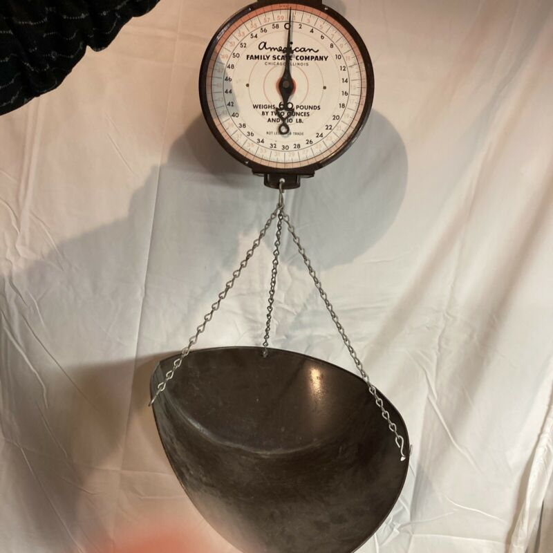 American Family Scale Company Vintage Mercantile Or Hardware Hanging Scale S1