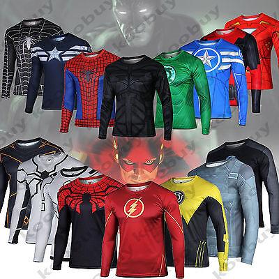 Mens Compression Marvel Superhero T-Shirts Gym Sports Tights Fitness Slim Tops - Mens Superhero Costumes