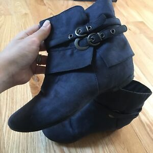 Italy blue suede boots