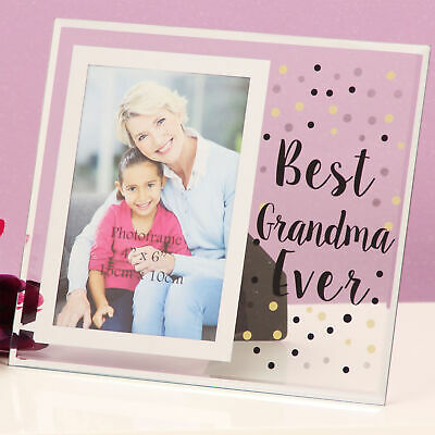 Celebration Gift Boxed Glass Dotty Design 6x4 Photo Frame - Best Grandma