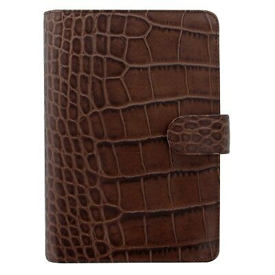 Filofax Persoanl Croc Leather Organizer Agenda Weekly Daily Planner Brown C...