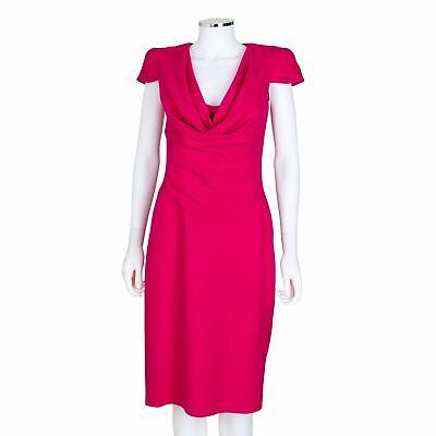 Alexander McQueen Pink Wool Cap Sleeve Cowl Neck Dress - Size 42