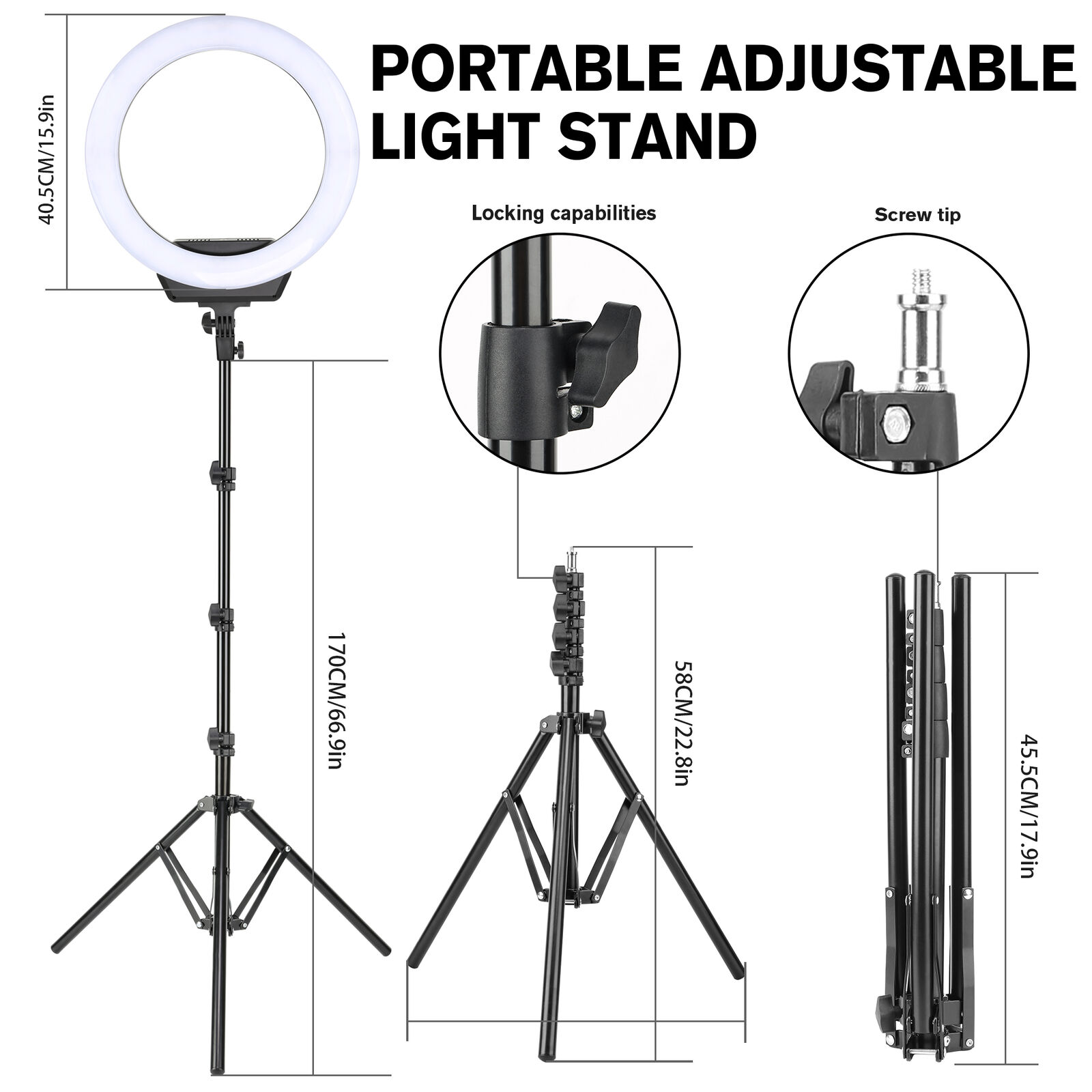 zomei 16 u0026quot  photography led ring light dimmable lighting with stand u0026phone adapter