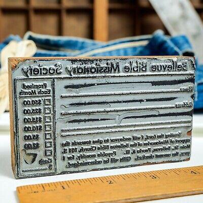 Bellevue Bible Missonary Med 4.5x 2.5 Vintage Letterpress Printers Block