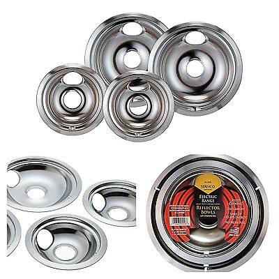 Universal Chrome Stove Drip Pans Electric Burner Covers Top Replacement Set New!