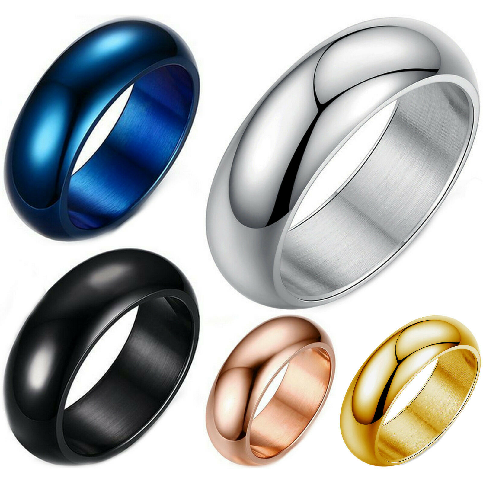Stainless Steel 7mm Dome Ring Polished Comfort Fit Men's & Women's Wedding Band Jewelry & Watches