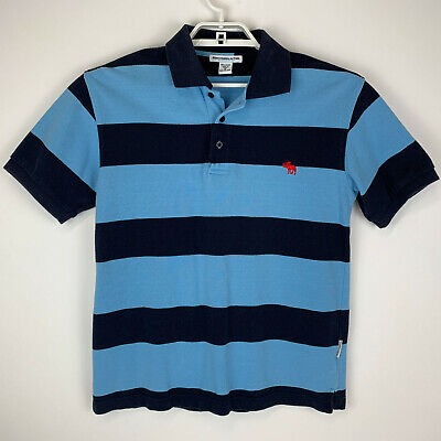 Abercrombie & Fitch Mens Size Medium Short Sleeve Polo Shirt Striped Blue Cotton