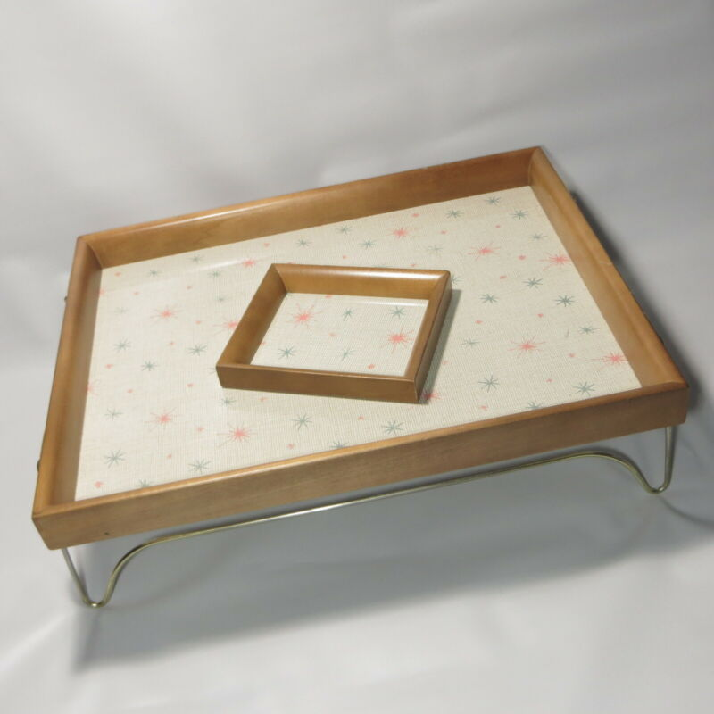 Vtg Mid Century Lap Tray Starburst Celestial Melamine with Wood Trim