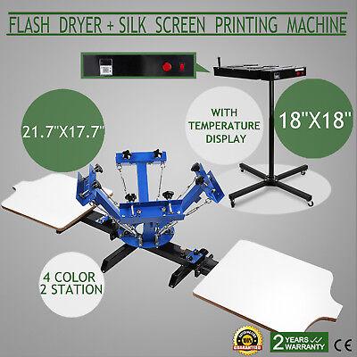 4 Color 2 Station Silk Screen Printing 18 X 18 Flash Dryer Press T-shirt Print