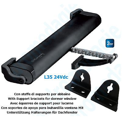 LIWIN 350N 24V BLACK + SUPPORT BRACKETS FOR DORMER WINDOW BLACK Skylights Motor