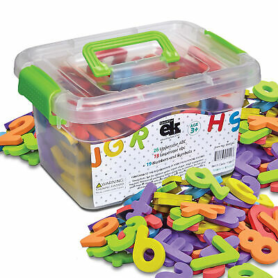 EduKid Toys 123 FOAM MAGNETIC LETTERS & NUMBER  with Storage Canister ~NEW~