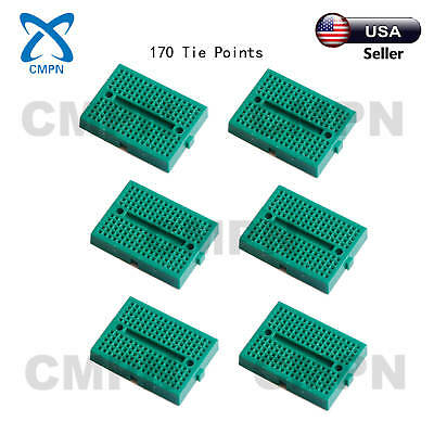 6pcs Green 170 Tie Points Mini Solderless Prototype Breadboard Arduino Shield