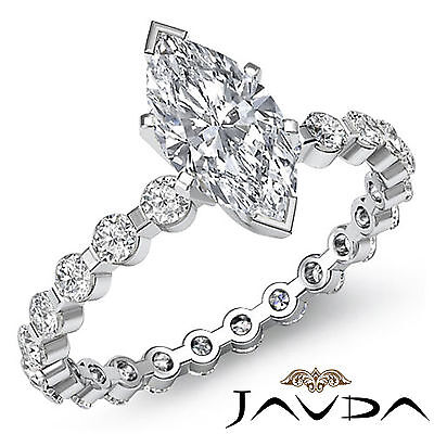 Eternity Bar Prong Setting Marquise Cut Diamond Engagement Ring GIA G VS2 1.4Ct