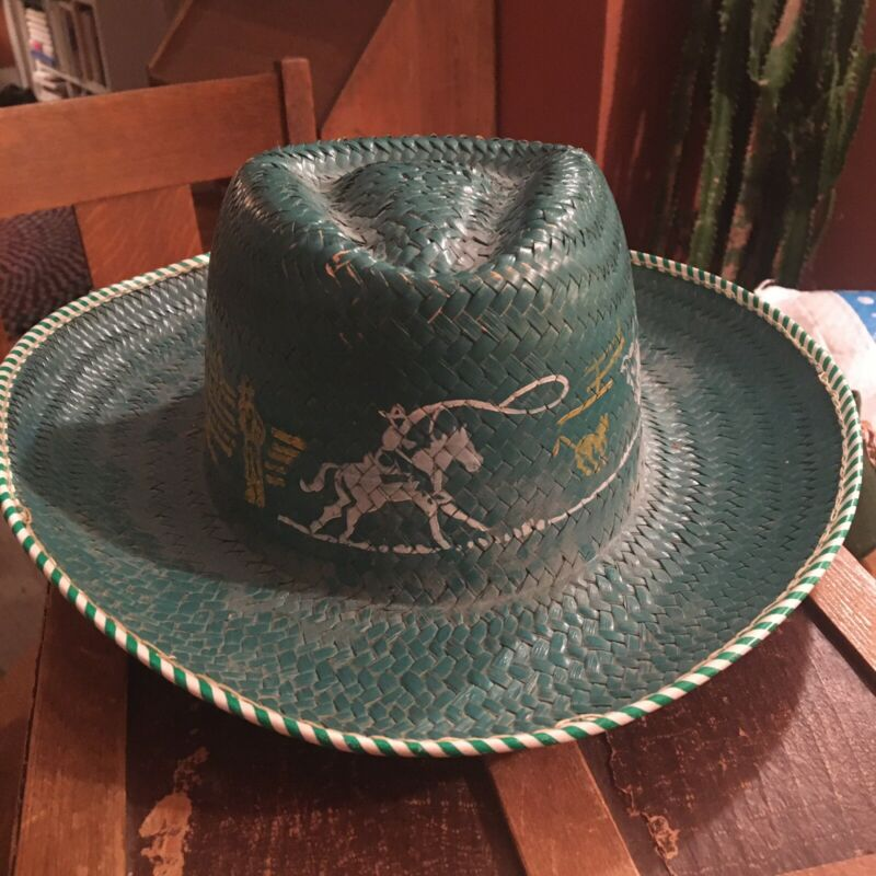 1950s Cowboy Hat Kids Toy painted Blue with Stencils