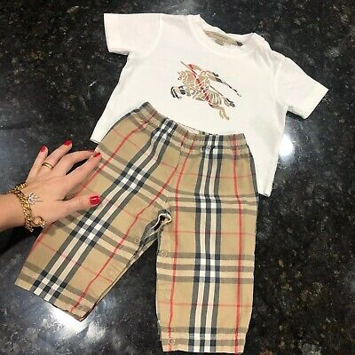 18 Months ( 12m 1Y +) Authentic Burberry Baby Boys T-shirt Pants Set Check Polo