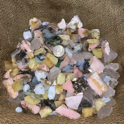 2000 Carats of SMALL Mixed Opal (Yellow,Blue,Pink,Clear) Rough+ FREE Faceted Gem