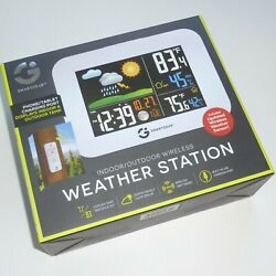 NEW Smart Gear Indoor Outdoor Wireless Color LCD Weather Station Alarm Clock USB