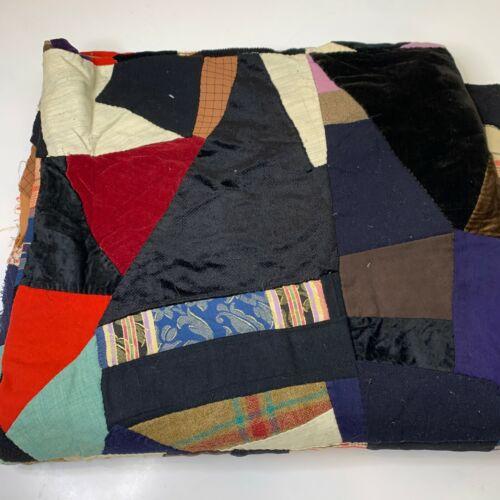 vintage hand sewn quilt coverlet black brown velvet wool crazy quilt hand em