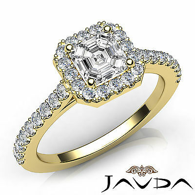 Asscher Diamond Engagement GIA H VS2 Shared Prong Set Ring 18k Yellow Gold 1Ct