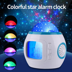 Night Light Projector Lamp Bedroom Alarm Clock With Music for Kid Christmas Gift