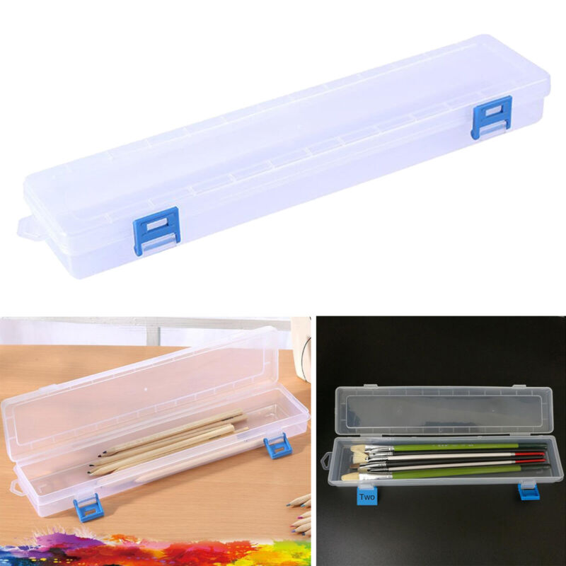 Clear Artist Plastic Paint Brush Box Storage Pen Marker Organziers Case with Lid
