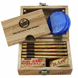 RAW Wooden Rolling Storage Box Gift Set Classic Smoking Papers Grinder Tips
