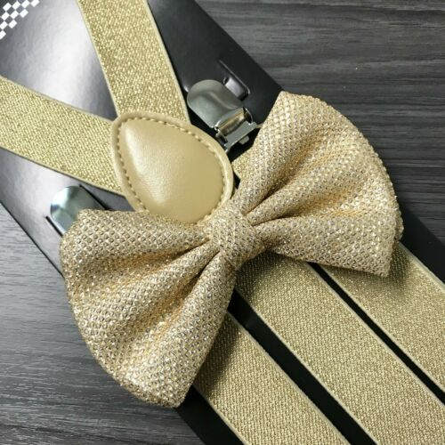 Gold Glitter Suspenders And Bow Tie Matching Set Wedding Tuxedo Prom Adult