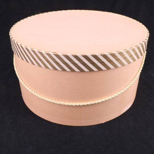 "Vintage Large Pink Hat Box 13"" Diameter Storage Round"