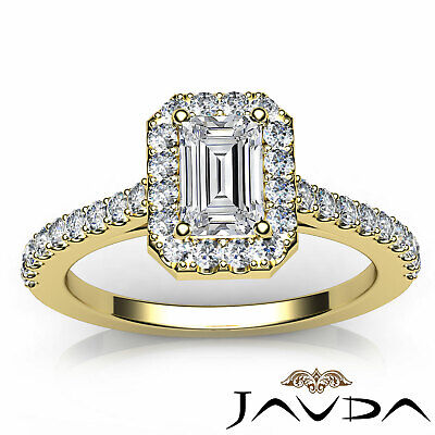 Halo French U Pave Women's Emerald Natural Diamond Engagement Ring GIA G VS2 1Ct 10