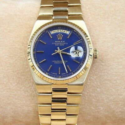 Rolex Day-Date OysterQuartz 18ct Yellow Gold Watch 19018 - Blue Dial 18k