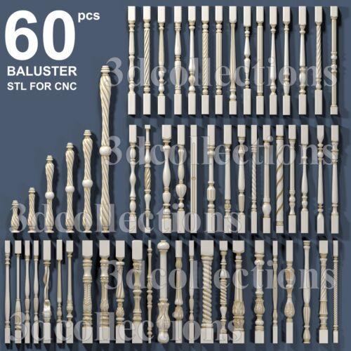 3d stl model cnc router artcam aspire 60 pcs baluster collection