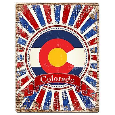 PP0985 USA Colorado State Flag Chic Sign Home Shop  Store Room Wall Decor -