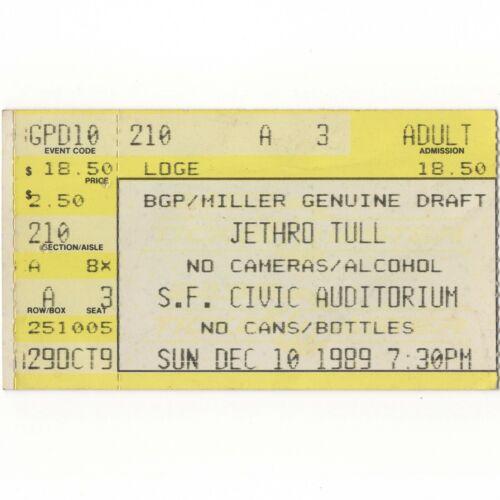 JETHRO TULL & IT BITES Concert Ticket Stub SAN FRANCISCO 12/10/89 ROCK ISLAND