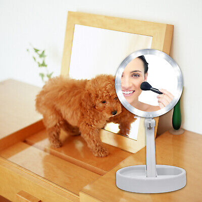 Tri-Fold LED Makeup Mirror Tabletop Beauty With 10X Magnifying Spot Mirror Q001 Magnifying Makeup Mirror