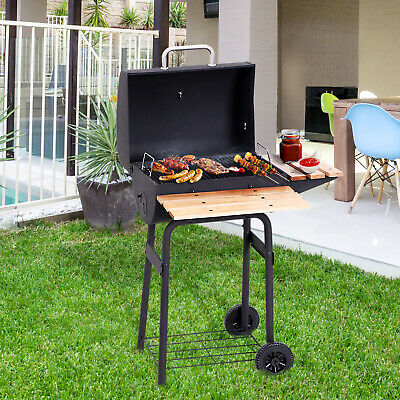 Outsunny Portable Charcoal BBQ Grill Trolley Steel Backyard Barbecue Outdoor