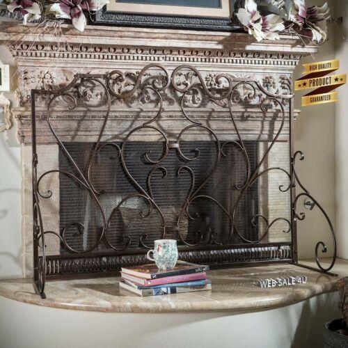 Wrought Iron Fireplace Screen Metal Single Panel Vintage Antique Décor Bronze US
