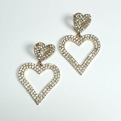 E0128 Gold Tone Clear Rhinestones Love Heart Shape Drop Dangle Post Earrings Dangling Heart Post Earrings