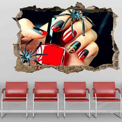 Halloween Nail Art 3D Wall Sticker Mural Decal Manicure Beauty Salon Decor GP25