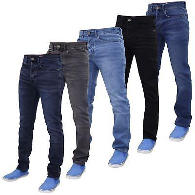 Life & Glory Mens Slim Fit Jeans Designer Stretch Button Denim Trousers Pants