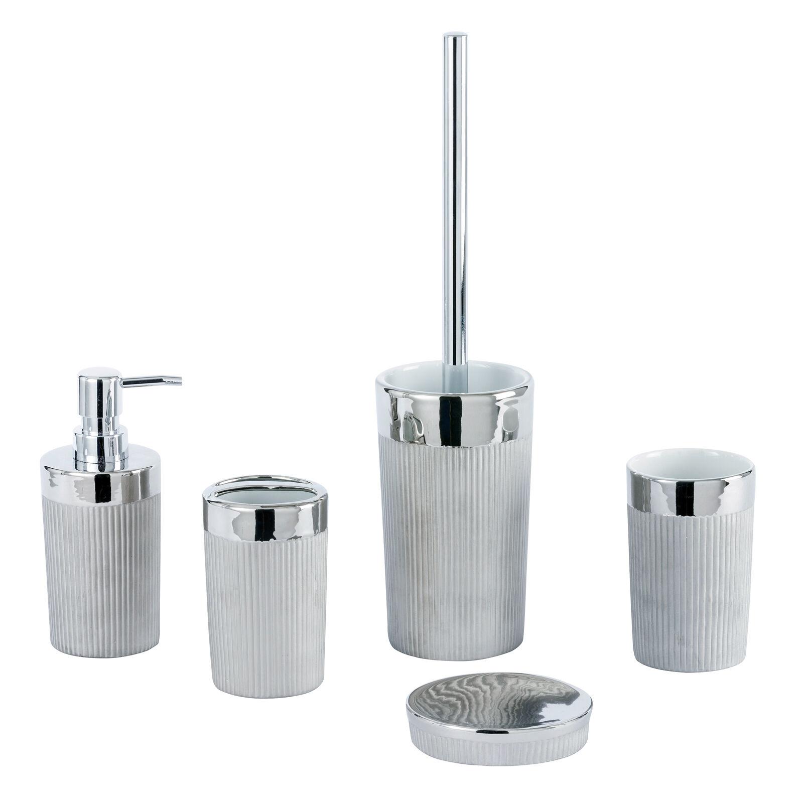Basilica chrome grey ceramic bathroom accessories for Chrome bathroom accessories