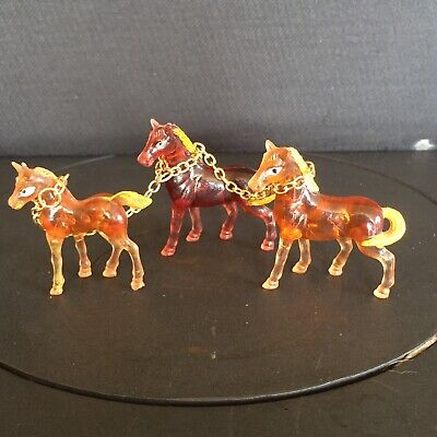 VINTAGE 60s/70s Clear Lucite Plastic Animals HORSE FAMILY Ornaments Toys KITSCH