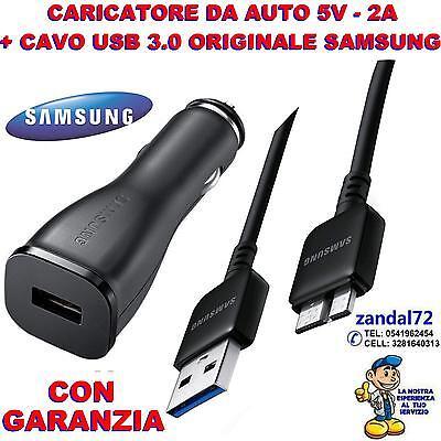 CARICABATTERIA DA AUTO + CAVO USB 3.0 SAMSUNG ORIGINALE GALAXY S5 i9600...