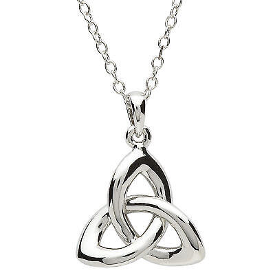 Platinum Plated Trinity Knot Pendant Necklace Celtic Design Round Link Chain Plated Trinity Knot